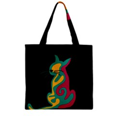 Colorful Abstract Cat  Zipper Grocery Tote Bag by Valentinaart