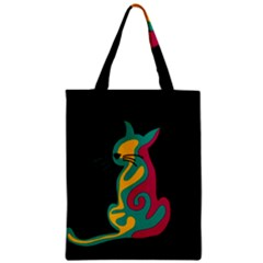Colorful Abstract Cat  Zipper Classic Tote Bag by Valentinaart