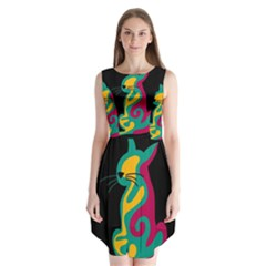 Colorful Abstract Cat  Sleeveless Chiffon Dress   by Valentinaart