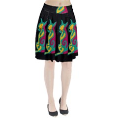 Colorful Abstract Cat  Pleated Skirt
