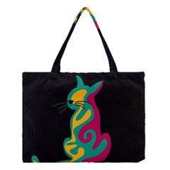 Colorful Abstract Cat  Medium Tote Bag by Valentinaart