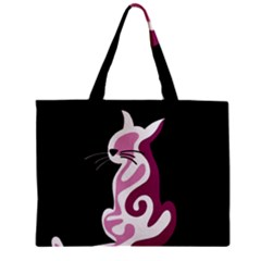 Pink Abstract Cat Zipper Mini Tote Bag by Valentinaart