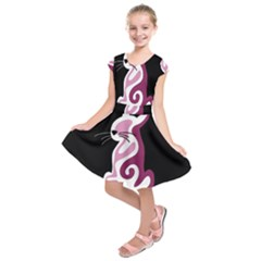 Pink Abstract Cat Kids  Short Sleeve Dress