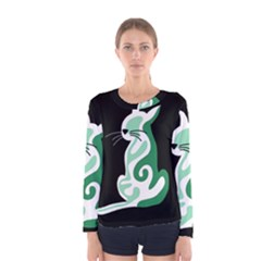 Green Abstract Cat  Women s Long Sleeve Tee by Valentinaart