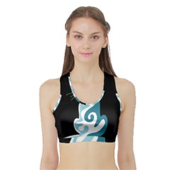Blue Abstract Cat Sports Bra With Border
