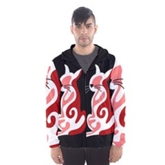Red Abstract Cat Hooded Wind Breaker (men)