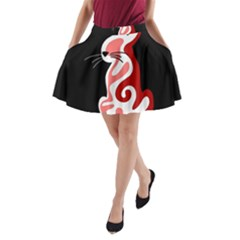 Red Abstract Cat A Line Pocket Skirt by Valentinaart