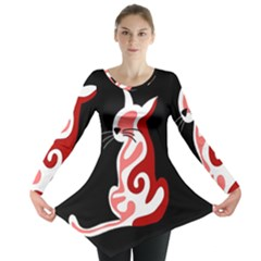 Red Abstract Cat Long Sleeve Tunic