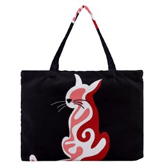 Red Abstract Cat Medium Zipper Tote Bag by Valentinaart