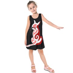 Red Abstract Cat Kids  Sleeveless Dress by Valentinaart