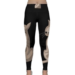 Brown Abstract Cat Classic Yoga Leggings by Valentinaart