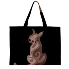Brown Abstract Cat Zipper Mini Tote Bag by Valentinaart