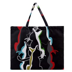 Street Cats Zipper Large Tote Bag by Valentinaart