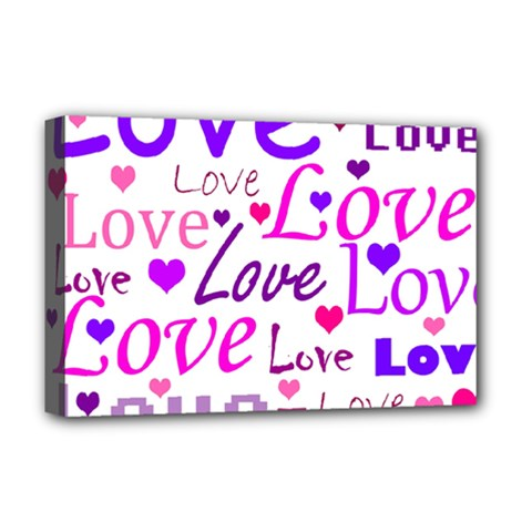 Love Pattern Deluxe Canvas 18  X 12   by Valentinaart