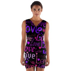 Love Pattern 2 Wrap Front Bodycon Dress by Valentinaart