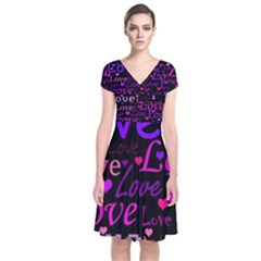 Love Pattern 2 Short Sleeve Front Wrap Dress by Valentinaart