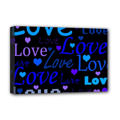 Blue Love Pattern Deluxe Canvas 18  X 12   by Valentinaart