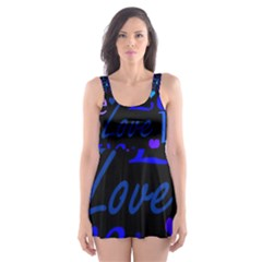 Blue Love Pattern Skater Dress Swimsuit by Valentinaart