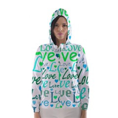Love Pattern   Green And Blue Hooded Wind Breaker (women) by Valentinaart