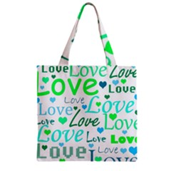 Love Pattern   Green And Blue Zipper Grocery Tote Bag by Valentinaart