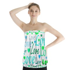 Love Pattern   Green And Blue Strapless Top