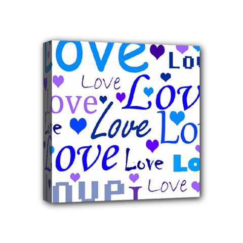 Blue And Purple Love Pattern Mini Canvas 4  X 4  by Valentinaart