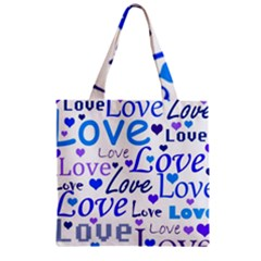 Blue And Purple Love Pattern Zipper Grocery Tote Bag by Valentinaart