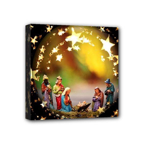 Christmas Crib Virgin Mary Joseph Jesus Christ Three Kings Baby Infant Jesus 4000 Mini Canvas 4  X 4  by yoursparklingshop