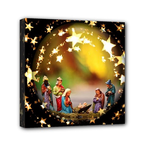 Christmas Crib Virgin Mary Joseph Jesus Christ Three Kings Baby Infant Jesus 4000 Mini Canvas 6  X 6  by yoursparklingshop