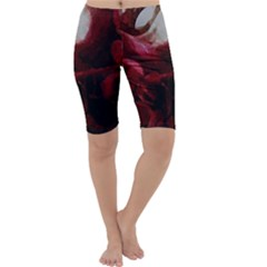 Dark Red Candlelight Candles Cropped Leggings  by yoursparklingshop