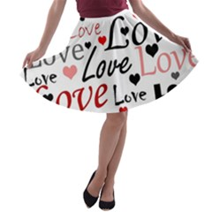 Love Pattern   Red A Line Skater Skirt by Valentinaart