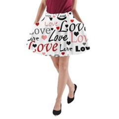 Love Pattern   Red A Line Pocket Skirt by Valentinaart