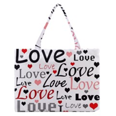 Love Pattern   Red Medium Zipper Tote Bag by Valentinaart