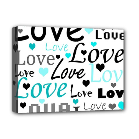 Love Pattern   Cyan Deluxe Canvas 16  X 12   by Valentinaart