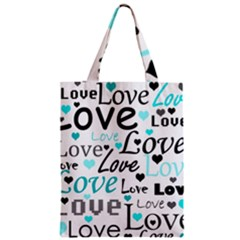 Love Pattern   Cyan Classic Tote Bag by Valentinaart