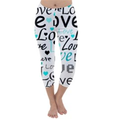 Love Pattern   Cyan Capri Winter Leggings