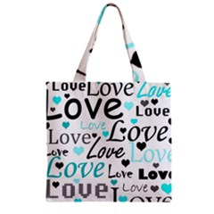 Love Pattern   Cyan Zipper Grocery Tote Bag