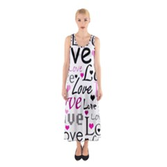 Love Pattern   Magenta Sleeveless Maxi Dress