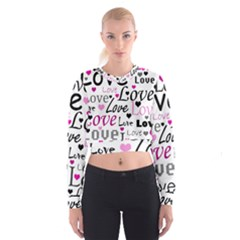 Love Pattern   Magenta Women s Cropped Sweatshirt