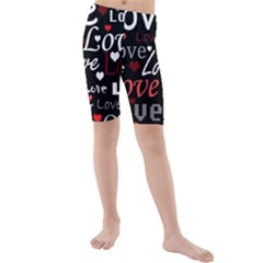 Red Love Pattern Kids  Mid Length Swim Shorts by Valentinaart