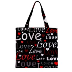 Red Love Pattern Zipper Grocery Tote Bag by Valentinaart