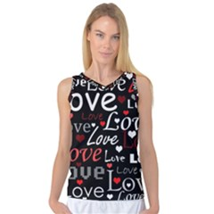 Red Love Pattern Women s Basketball Tank Top by Valentinaart