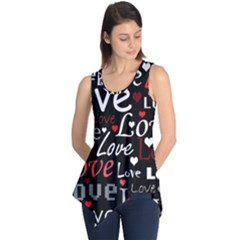 Red Love Pattern Sleeveless Tunic