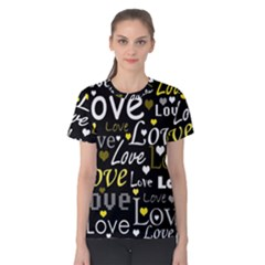 Yellow Love Pattern Women s Cotton Tee by Valentinaart