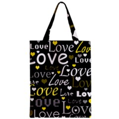 Yellow Love Pattern Zipper Classic Tote Bag by Valentinaart