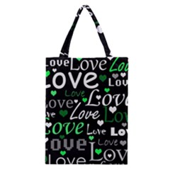 Green Valentine s Day Pattern Classic Tote Bag by Valentinaart