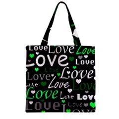 Green Valentine s Day Pattern Zipper Grocery Tote Bag by Valentinaart