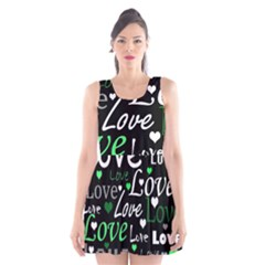 Green Valentine s Day Pattern Scoop Neck Skater Dress by Valentinaart