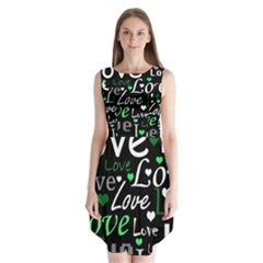 Green Valentine s Day Pattern Sleeveless Chiffon Dress   by Valentinaart