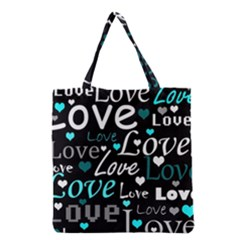 Valentine s Day Pattern   Cyan Grocery Tote Bag by Valentinaart